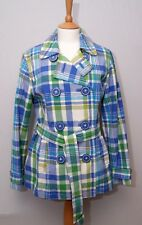 Boden women's blue green plaid check short double breasted cotton trench coat 14