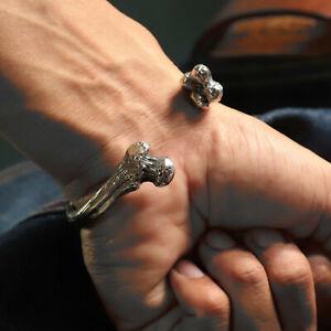bone skull Bracelets Bangle Biker Silver 925 Heavy Men's Punk Rock Gothic viking