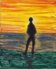 Artisteri / Llop - mini aclilico/oleo 'contemplando la albada' enmarcado 39x35