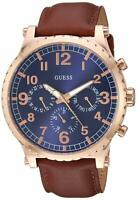 Guess Arrow Men's Quartz Blue Dial Brown Leather Watch - W1215G1 NEW