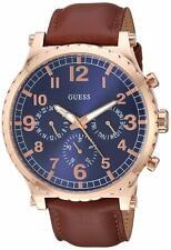 Guess Arrow Men's Quartz Blue Dial Brown Leather Watch - W1215G1 NEW