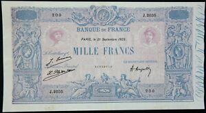 Billet 1000 Francs « Bleu & Rose » France 1925 TTB