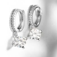 Colvard Women's 18K White Gold Plated Drop Earrings made with Swarovski Crystals