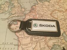 SKODA Quality Black Real Leather Keyring Oblong OCTAVIA FABIA YETI SUPERB