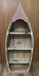 "Canoe Book Shelf Cedar Small 26"" Built 3 Shelves Wooden Varnished Handmade"