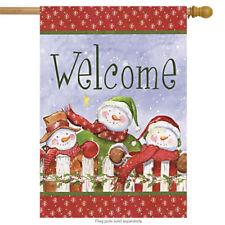 "Welcome Snowman Winter House Flag Snowmen Fence 28"" x 40"""