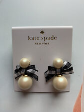 BN Kate Spade Faux Pearl Black Bow Stud Earrings