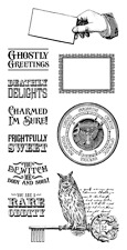 Graphic 45 G45 Rare Oddities #2 Cling Stamp Cards Halloween 9 pieces Word Phrase