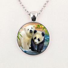 Pendant Glass Cabochon Unisex Jewelry Gifts Charm Polar Bear and Panda Necklace