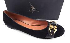 GIUSEPPE ZANOTTI Size 9 Black Suede Jeweled Ballet Flats Shoes 39.5
