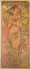 The Rose 1898 Alphonse Mucha Art Nouveau Canvas Giclee Print 17x34 in.
