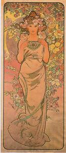 The Rose 1898 Alphonse Mucha Art Nouveau Canvas Giclee Print 17x34 in.
