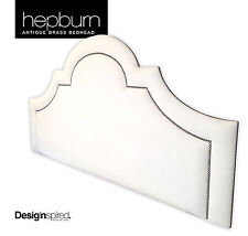 HEPBURN BRASS Upholstered Bedhead for Queen Size Ensemble - PARCHMENT