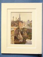 BISHOP'S BRIDGE NORWICH VINTAGE DOUBLE MOUNTED HASLEHUST PRINT 10X8 OVERALL