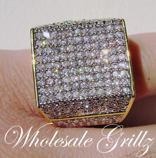 NEW!! HUGE $259 MENS XXL 14K GOLD GP SIMULATE DIAMOND BLING HIPHOP PINKY RING