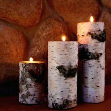 REAL BIRCH BARK LOG TEALIGHT CANDLE HOLDER SET OF THREE RUSTIC DECOR