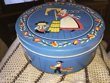 Vintage QUINLAN'S BUTTER PRETZELS Round Tin - Blue with Amish Farm Scenes