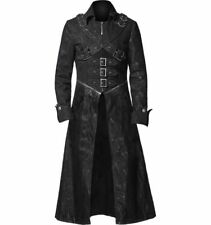 New Style Steampunk Black Leather Gothic Trench Coat For Men - In All Sizes