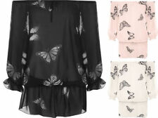 Butterfly 3/4 Sleeve Hip Length Tops & Shirts for Women