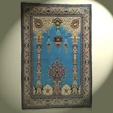 Age Orient Tapis avec Laine de Liège et Soie D'Orient 207x139 cm Bleu Beige