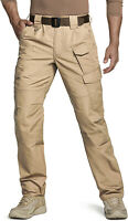 CQR Men's Tactical Pants, Water Repellent Ripstop Cargo Pants, Hiking Work Pants