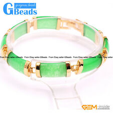 """Rectangle Jade Gold Plated Link Bracelet 7"""" Fashion Jewelry Gift Free Shipping"""