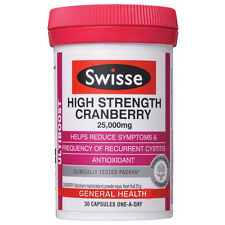 2 x Swisse Ultiboost High Strength Cranberry 30 Capsules EXP: 03-2019