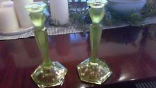 "Stretch Glass Iridescent Topaz Vaseline Glass  8 1/2"" Tall Candlesticks"