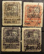 4 marche da bollo Fiume 1922. Valori: 10 Cent, 30 Cent, Lire 1, Lire 2L  #lt95