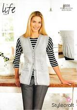 ce38e565af52b9 Stylecraft 8935 Knitting Pattern Ladies Waistcoat in Stylecraft Life 4 Ply