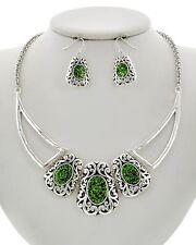 Elegant Western Hot Tropical Green Color Pop Filigree Fashion Necklace Set