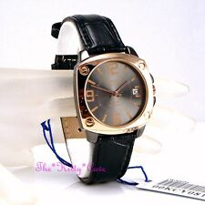 OMAX Waterproof Stainless Steel Rose Gold Plate Unisex Leather Date Watch KCY081