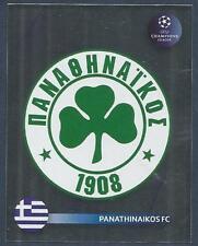 PANINI UEFA CHAMPIONS LEAGUE 2008-09- #383-PANATHINAIKOS TEAM BADGE-SILVER FOIL