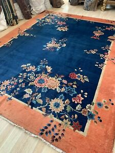 Handmade antique Art Deco Chinese rug 8.10' x 11.6' 1920s - 1N04