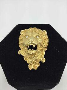 Vintage Erwin Pearl Yellow Goldtone Lion Brooch/Pendant