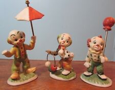 Vintage lot of 3 ceramic playful balloon circus clowns 4""