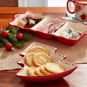 PIONEER WOMAN CHEERFUL ROSE 2 PIECE CHRISTMAS STONEWARE SERVING TRAYS RETIRED