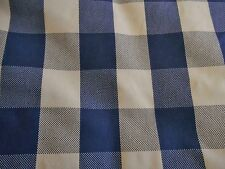 """Blue & beige 2"""" square CHECK 100% cotton quality flannel fabric 3 yds x 53""""wide"""