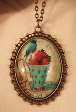 Lacy Picot Rimmed Brasstone Blue Bird on a Bowl of Strawberries Pendant Necklace