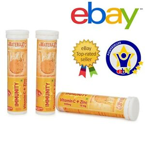 100 Tablets Vitamin C + Zinc Orange Flavored Effervescent Natural Max Absorption