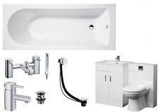 Bathroom Suite 1700mm Bath 500 Turin Vanity Unit 500x200 WC Unit BTW Pan Taps