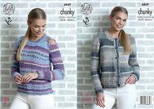 60c123c1458115 King Cole 4849 Knitting Pattern Womens Sweater and Cardigan in Drifter  Chunky
