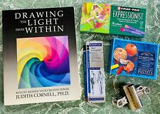 Lot of Drawing Book and Drawing Supplies - Soft Pastels, Craypas, Pencils, Clips