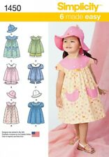 SIMPLICITY SEWING PATTERN TODDLERS DRESS TOP PANTIES HAT 1/2 - 4 1450