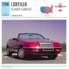 Chrysler Le Baron Cabriolet 4 Cyl. Sport 1986 USA CAR VOITURE CARTE CARD FICHE