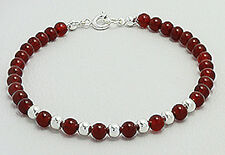 "7"" Solid Sterling Silver 4mm Red Agate Bead Bracelet 4.6g CHILDREN'S"