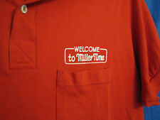Vtg 80's Welcome Miller Time High Life Beer Red Polo Shirt Delivery Guy sz M/L
