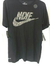 Mens Size L Black Nike Swoosh Shirt Aq3615 Dri-Fit Cotton Exercise Workout Tee