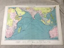 Vintage Map The Indian Ocean Maritime Shipping Routes Large Original 1920s