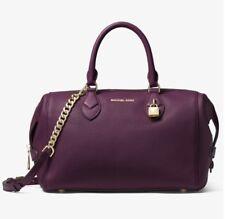 Michael Kors Grayson Satchel Conv Damson-Purple, LG Leather Gold Hardware